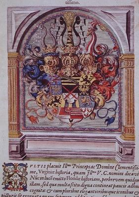 Coat of Arms, from 'Brevis Narratio..', engraved by Theodore de Bry