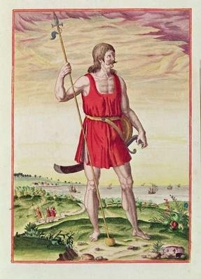 Man from a Neighbouring Tribe to the Picts, from 'Admiranda Narratio..', engraved by Theodore de Bry