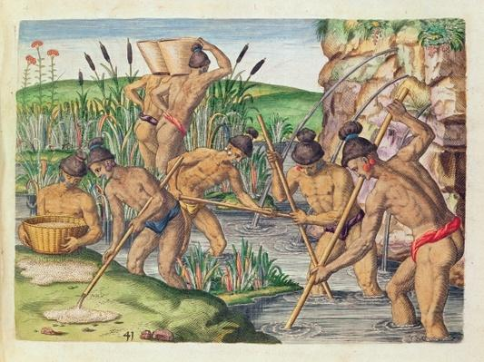 How the Indians Collect Gold from the Streams, from 'Brevis Narratio..', engraved by Theodore de Bry