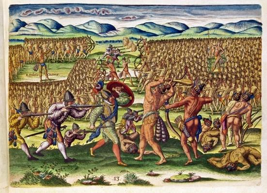 The French Help the Indians in Battle, from 'Brevis Narratio..', engraved by Theodore de Bry