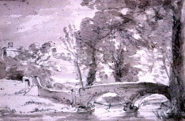 Bridge with Trees and Buildings, at Haddon