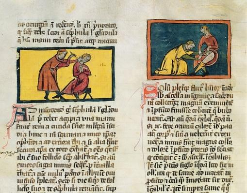 Ms H 89 Doctors curing the sick, from an edition of 'Book of Surgery' by Rogier de Salerne