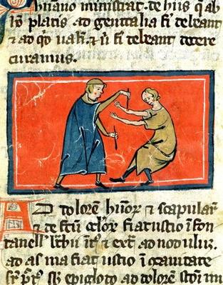 Ms H 89 Doctor cauterising a wound with fire, from an edition of 'Book of Surgery' by Rogier de Salerne