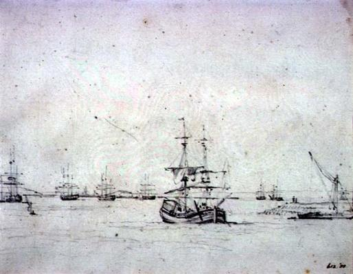 A brig at anchor and other shipping in the Thames