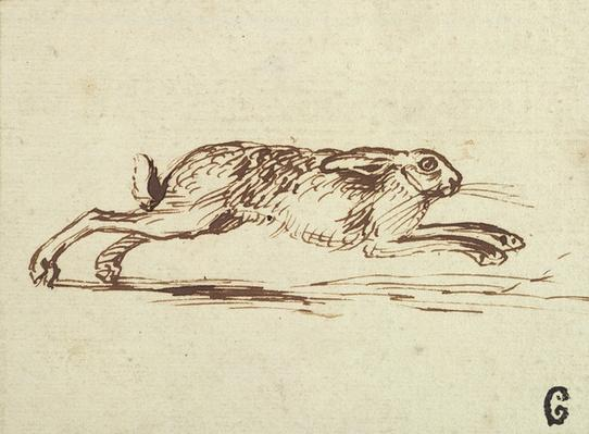 A Hare Running, With Ears Laid Back
