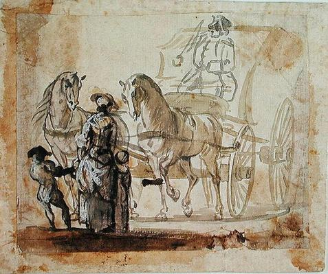 A Carriage and Pair, with Coachman