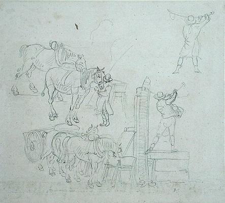 Studies of a carter pumping water for his horses
