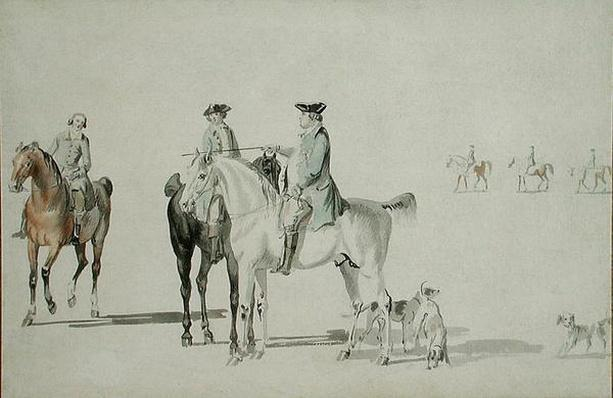 The Duke of Cumberland with a Gentleman and a Groom, all Mounted, and Dogs