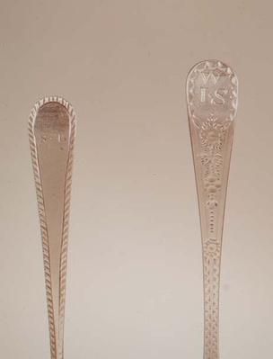 Teaspoon handles, left to right: 1782, 1791