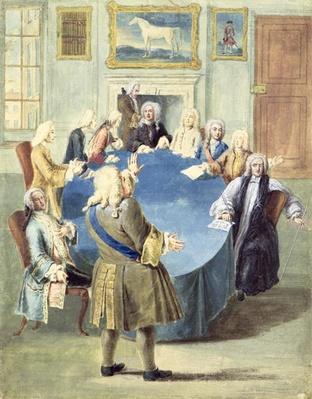 Sir Robert Walpole addressing his cabinet