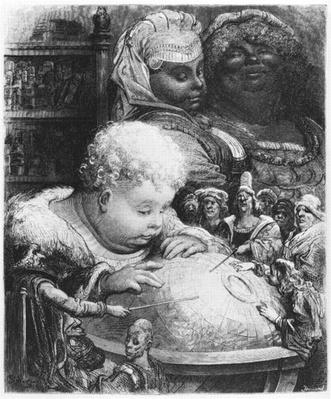 Education of Gargantua, illustration from 'Gargantua' by Francois Rabelais