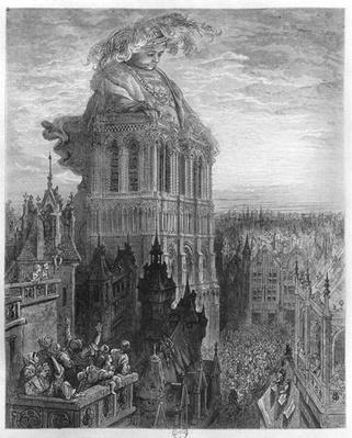 Gargantua on the towers of Notre-Dame at Paris, illustration from 'Gargantua' by Francois Rabelais