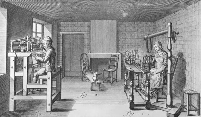Loom for weaving stockings, illustration from the 'Encyclopedia' by Denis Diderot