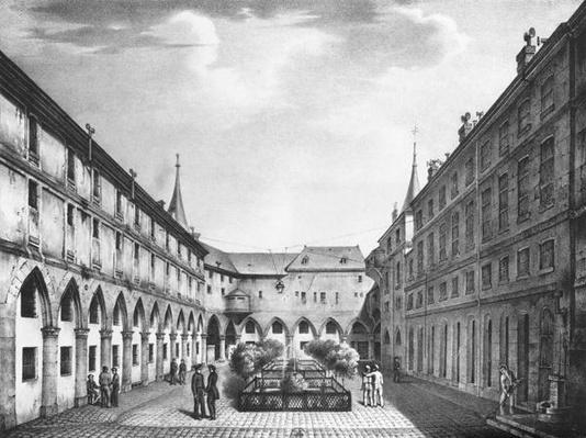 View of the Men's Yard at the Conciergerie Prison, engraved by Alphonse Urruty