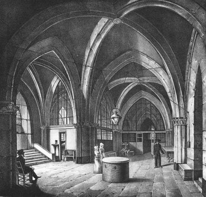 Interior view of the entrance room at the Conciergerie Prison, engraved by Alphonse Urruty