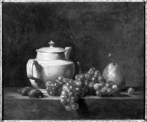 White Teapot with Two Chestnuts, White Grapes and a Pear