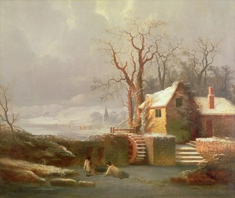 Snow Scene with Mill and Cottages
