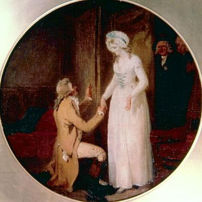 Young Marlow and Miss Hardcastle, scene from 'She Stoops to Conquer' by Oliver Goldsmith, 1791