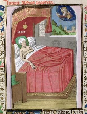 Ms H 7 fol.110v The Vision of Obadiah, from the Bible of Jean XXII