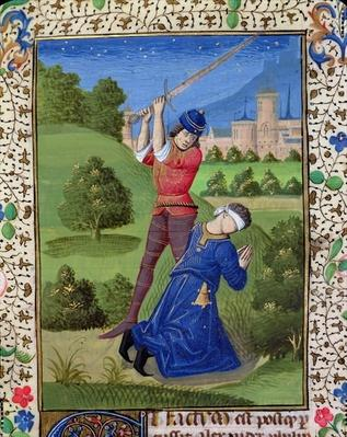 Ms H 7r The Decapitation of Alexander I Balas, from the Bible of Jean XXII