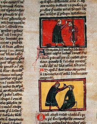 Ms H 89 fol.3 Doctors treating the sick, from an edition of 'Book of Surgery' by Rogier de Salerne