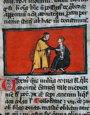 Ms H 89 A doctor putting ointment on a patient's wound, from an edition of 'Book of Surgery' by Rogier de Salerne