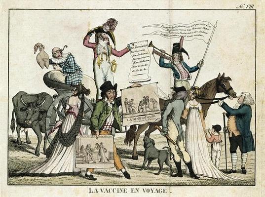 Caricature depicting quack doctors offering vaccines