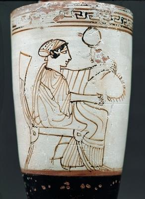 Attic white ground lekythos depicting a woman plaiting a wreath, c.475-420 BC
