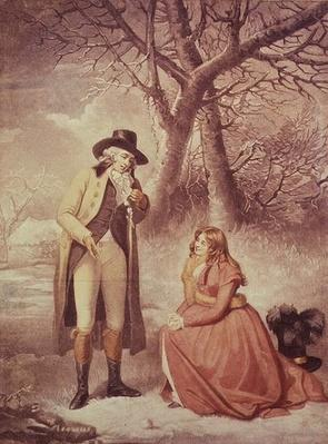 Gentleman and woman in a wintry scene