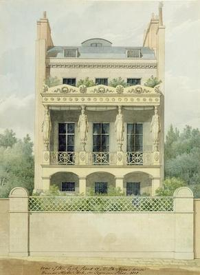 View of the Back Front of Henry Phillip Hope's house towards Hyde Park in Seymour Place, 1818