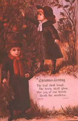 Two Victorian Children Collecting Autumn Berries and Mistletoe