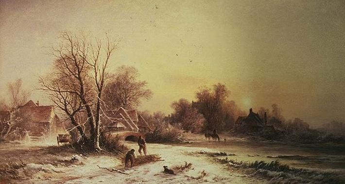 Winter scene: Collecting wood on a river bank