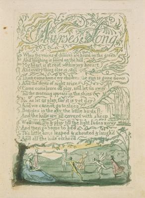 'Nurse's Song,' plate 18 from 'Songs of Innocence,' 1789