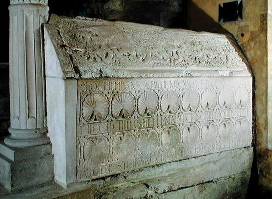 The cenotaph of Abbess Theodechilde in the funerary crypt