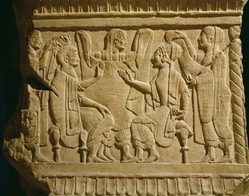 Relief depicting a gynaeceum scene