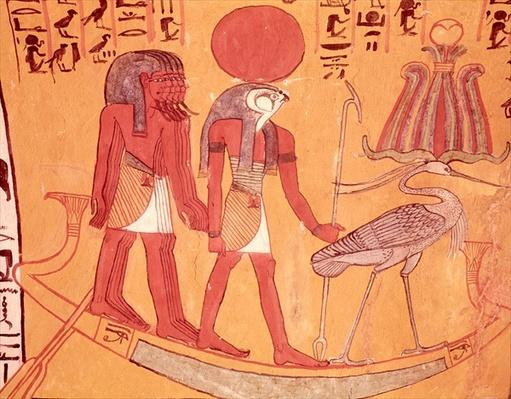 Solar barque with Re-Horakhty, the benu bird and four other deities, from the Tomb of Sennedjem, The Workers' Village, New Kingdom