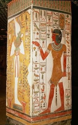 Pillar depicting Osiris and a priest wearing a panther skin, from the Tomb of Nefertari, New Kingdom