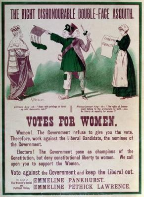 "Women's Suffrage Poster ""The Right Dishonourable Double-Face Asquith"", c.1910"