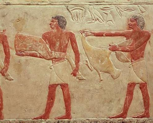 Relief depicting servants carrying a haunch of beef and a duck, from the Tomb of Princess Idut, Old Kingdom, c.2330 BC