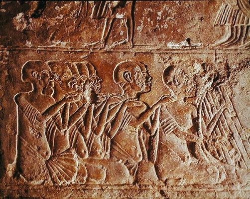 Relief depicting blind singers and a harpist, from the Tomb of Meryre, New Kingdom