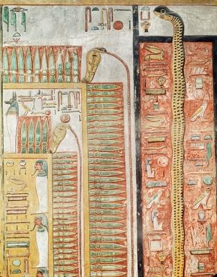 Relief depicting the path which the dead must cross to the afterlife, from the Tomb of Seti I