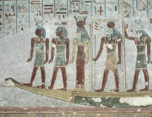 Relief depicting Khnum in a funerary barque passing through the Underworld, from the Tomb of Ramesses III