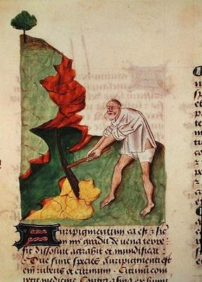 Ms 5/9 fol.3v Looking for gold, from 'Grand Herbier' by Pedanius Dioscorides