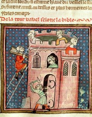 Ms 59 fol.17r The Construction of the Tower of Babel, from 'Bible Historiale' by Guiart des Moulins