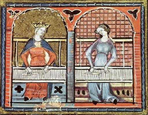 Ms 1044 fol.89v Women Weaving, from Ovide Moralise written by Chretien Legouais