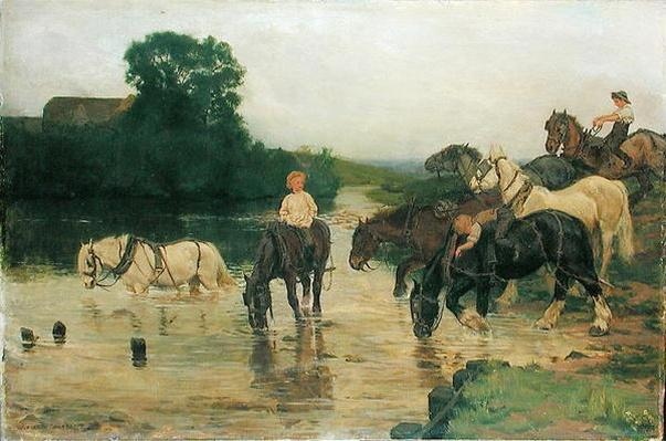 Bathing Horses after Work, 1884