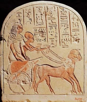Stela depicting a scribe driving a chariot, from Tell El-Amarna, New Kingdom, c.1353-1337 BC
