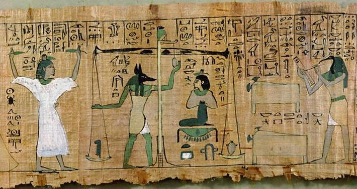 Funerary papyrus of Djedkhonsouefankh depicting the judgement of the deceased, Third Intermediate Period