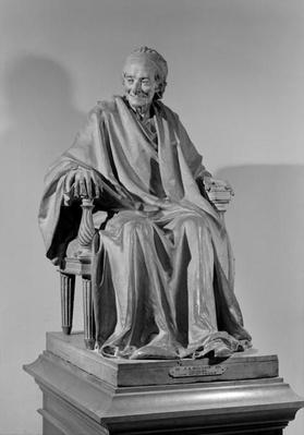 Seated sculpture of Voltaire