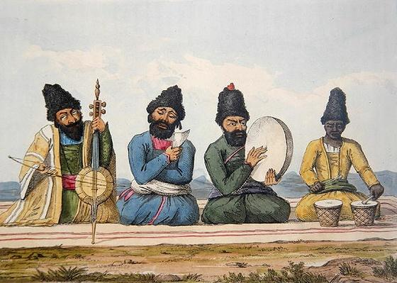 "Persian Musicians from ""A Second Journey through Persia 1810-16"", engraved by Theodore H.A. Fielding"